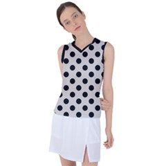 Polka Dots   Black On Abalone Grey Women s Sleeveless Sports Top by FashionLane