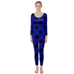 Polka Dots Black On Admiral Blue Long Sleeve Catsuit