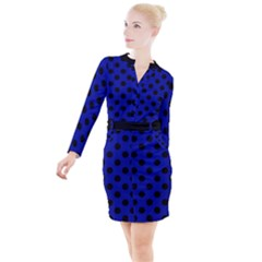 Polka Dots Black On Admiral Blue Button Long Sleeve Dress