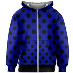 Polka Dots Black On Admiral Blue Kids  Zipper Hoodie Without Drawstring