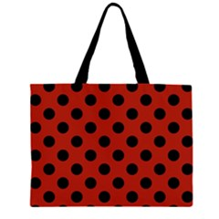 Polka Dots - Black On Apple Red Zipper Large Tote Bag by FashionLane