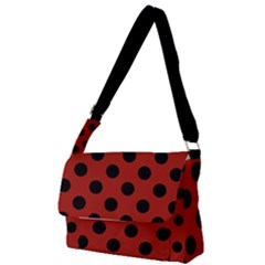Polka Dots - Black On Apple Red Full Print Messenger Bag (s) by FashionLane