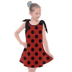 Polka Dots   Black On Apple Red Kids  Tie Up Tunic Dress
