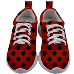 Polka Dots   Black On Apple Red Kids Athletic Shoes