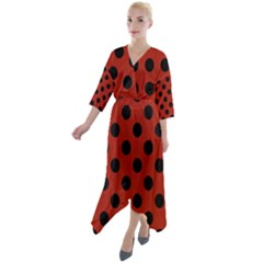 Polka Dots - Black On Apple Red Quarter Sleeve Wrap Front Maxi Dress