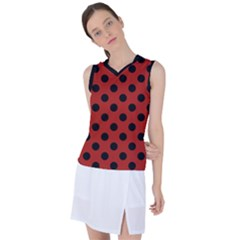 Polka Dots   Black On Apple Red Women s Sleeveless Sports Top