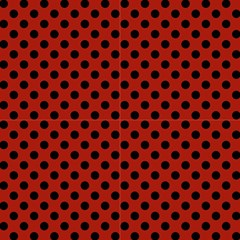 Polka Dots Black On Apple Red Fabric by FashionLane