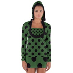Polka Dots - Black On Basil Green Long Sleeve Hooded T-shirt by FashionLane