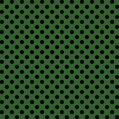 Polka Dots Black On Basil Green Fabric by FashionLane