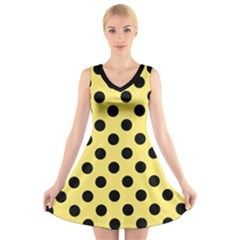 Polka Dots - Black On Blonde Yellow V-neck Sleeveless Dress by FashionLane