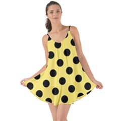 Polka Dots - Black On Blonde Yellow Love The Sun Cover Up by FashionLane