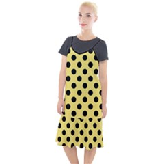 Polka Dots - Black On Blonde Yellow Camis Fishtail Dress