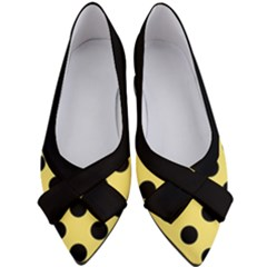 Polka Dots - Black On Blonde Yellow Women s Bow Heels