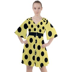Polka Dots - Black On Blonde Yellow Boho Button Up Dress