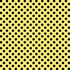 Polka Dots Black On Blonde Yellow Fabric by FashionLane