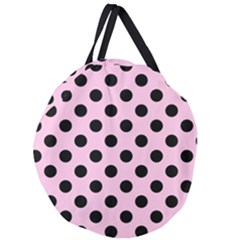 Polka Dots - Black On Blush Pink Giant Round Zipper Tote by FashionLane