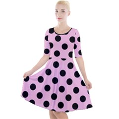 Polka Dots - Black On Blush Pink Quarter Sleeve A-line Dress by FashionLane