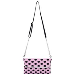 Polka Dots - Black On Blush Pink Mini Crossbody Handbag by FashionLane