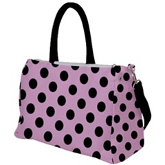Polka Dots - Black On Blush Pink Duffel Travel Bag by FashionLane
