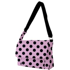Polka Dots - Black On Blush Pink Full Print Messenger Bag (l) by FashionLane