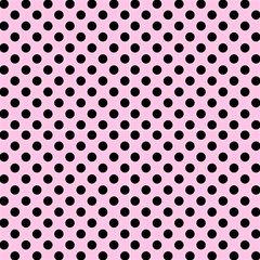 Polka Dots Black On Blush Pink Fabric by FashionLane