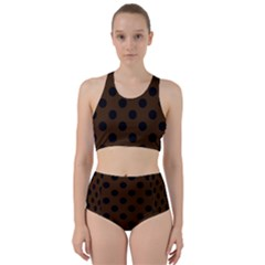 Polka Dots - Black On Brunette Brown Racer Back Bikini Set