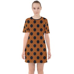 Polka Dots - Black On Burnt Orange Sixties Short Sleeve Mini Dress