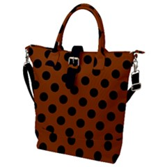 Polka Dots   Black On Burnt Orange Buckle Top Tote Bag