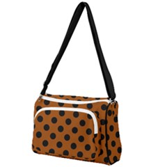Polka Dots - Black On Burnt Orange Front Pocket Crossbody Bag by FashionLane