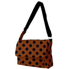 Polka Dots - Black On Burnt Orange Full Print Messenger Bag (l) by FashionLane