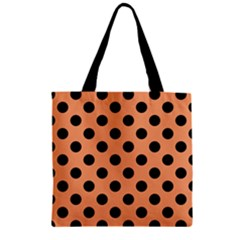 Polka Dots - Black On Cantaloupe Orange Zipper Grocery Tote Bag by FashionLane