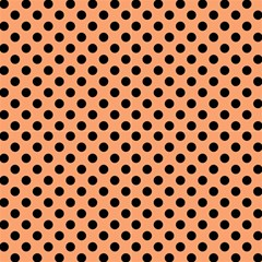 Polka Dots Black On Cantaloupe Orange Fabric by FashionLane