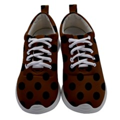 Polka Dots Black On Caramel Brown Women Athletic Shoes by FashionLane