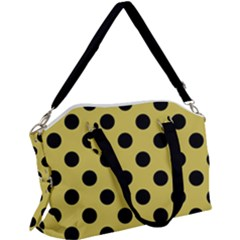 Polka Dots Black On Ceylon Yellow Canvas Crossbody Bag by FashionLane