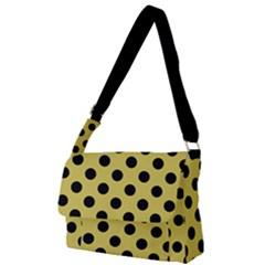 Polka Dots Black On Ceylon Yellow Full Print Messenger Bag (l) by FashionLane