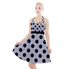 Polka Dots Black On Cloudy Grey Halter Party Swing Dress  by FashionLane