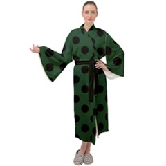Polka Dots Black On Eden Green Maxi Velour Kimono by FashionLane