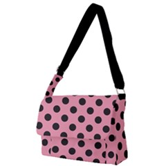 Polka Dots Black On Flamingo Pink Full Print Messenger Bag (l) by FashionLane