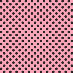 Polka Dots Black On Flamingo Pink Fabric by FashionLane
