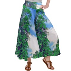 Drawing Of A Summer Day Satin Palazzo Pants by Fractalsandkaleidoscopes