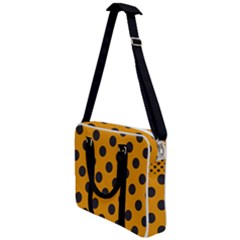 Polka Dots Black On Honey Orange Cross Body Office Bag
