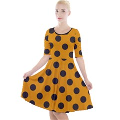 Polka Dots Black On Honey Orange Quarter Sleeve A-line Dress by FashionLane