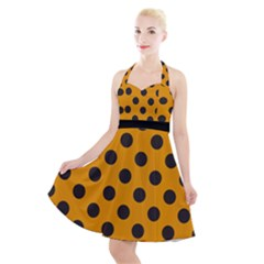 Polka Dots Black On Honey Orange Halter Party Swing Dress  by FashionLane