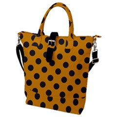 Polka Dots Black On Honey Orange Buckle Top Tote Bag by FashionLane