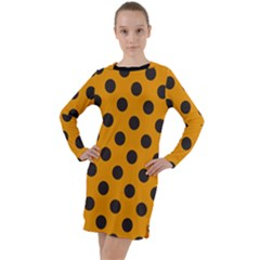 Polka Dots Black On Honey Orange Long Sleeve Hoodie Dress
