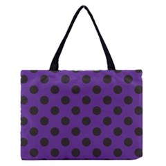Polka Dots Black On Imperial Purple Zipper Medium Tote Bag by FashionLane