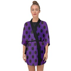 Polka Dots Black On Imperial Purple Half Sleeve Chiffon Kimono