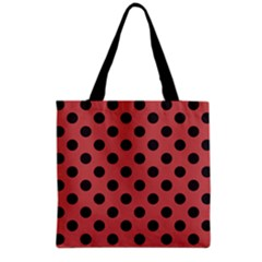 Polka Dots Black On Indian Red Grocery Tote Bag