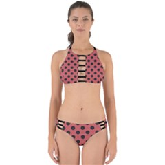 Polka Dots Black On Indian Red Perfectly Cut Out Bikini Set by FashionLane