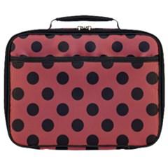 Polka Dots Black On Indian Red Full Print Lunch Bag by FashionLane